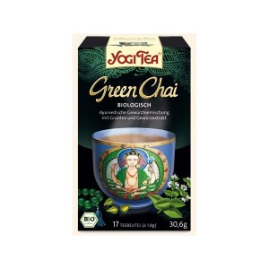 Delikatna, pachnąca i urzekająca. Herbata Zielona Green Chai Yogi Tea jest lekką i orzeźwiającą alternatywą dla głębokiej w smaku czarnej herbaty tradycyjnej.   Ta niezwykła herbata oparta na ajurwedyjskiej recepturze oferuje połączenie organicznej zielonej herbaty ze świeżością mięty, pikantną nutą imbiru i słodkiego zapachu kardamonu.   Zielona herbata działa prozdrowotnie na organizm człowieka i do tego smakuje tak wybornie dzięki starannie dobranej mieszance herbaty, którą wieńczą aromatyczne i organiczne indyjskie przyprawy.   Sposób przyrządzania:   Aby korzystać z uroków tej delikatnej mieszanki liści zielonej herbaty i przypraw, zalej szklankę świeżo zagotowanej wody na torebkę. Pozostawić do zaparzenia na 7 minut - lub dłużej dla wzmocnienia smaku. Poświęć chwilę, aby wdychać uwolniony aromat pachnącej mieszanki jeszcze przed dodaniem ulubionej formy posłodzenia herbaty lub śmietanki.   Niech każda filiżanka tej herbaty rozbudzi miłość i współczucie, w każdym z naszych serc. Możemy uznać, że ta sama siła nie do opisania, ta iskra życia, świeci we wszystkich istotach.   Składniki: cynamon * , zielona herbata * (20% ) , mięta * , kardamon *, imbir, goździki * , czarny pieprz * , ekstrakt z cynamonu (naturalny wzmacniacz smaku) , olejek z imbiru
